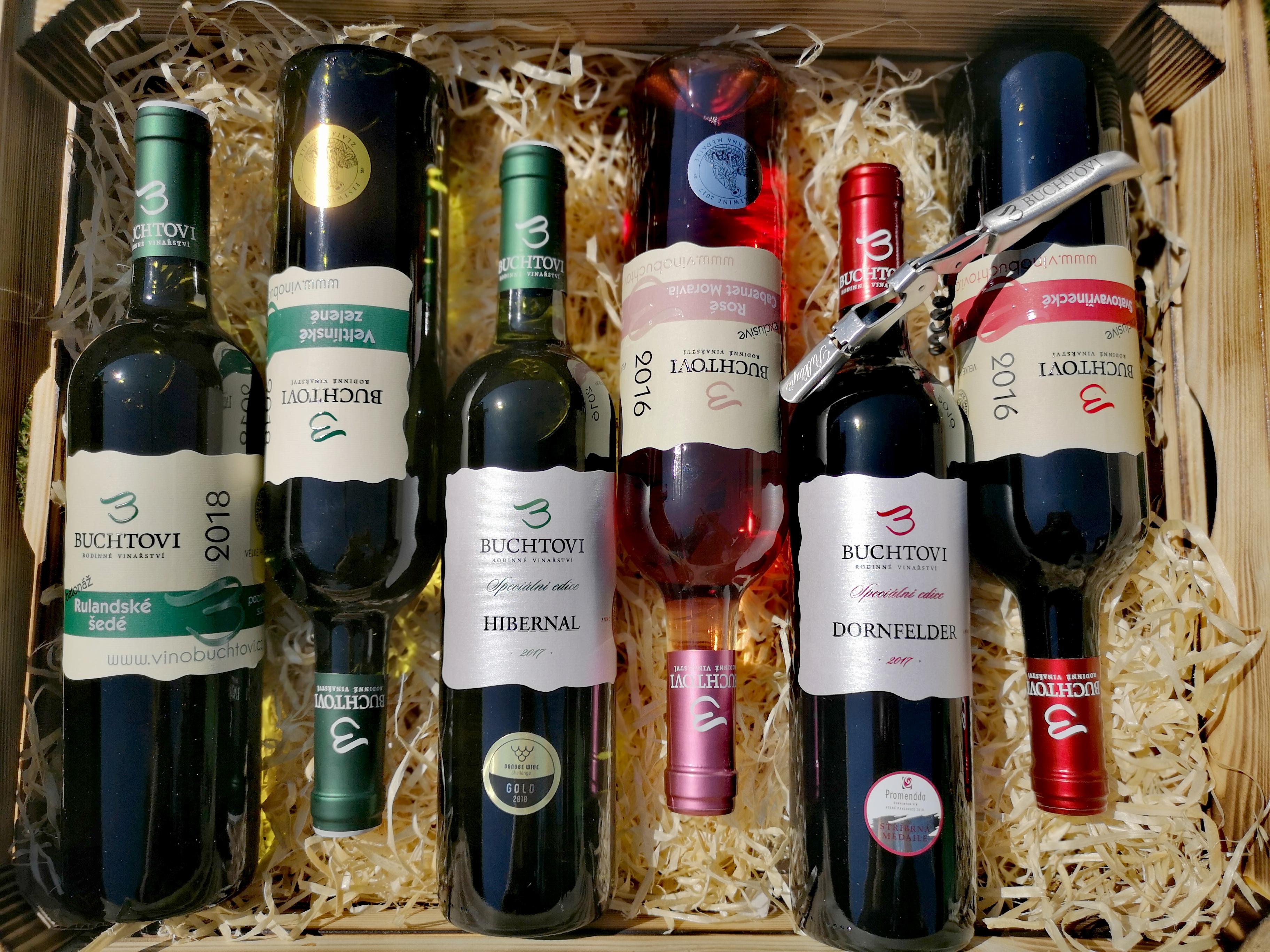 3.Degustační krabička průstřel nabídky + vývrtka s logem vinařství ZDARMA